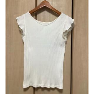 エージーバイアクアガール(AG by aquagirl)のAGbyアクアガール●ラッフルフリルリブカットソー トップス白ホワイト(Tシャツ(半袖/袖なし))