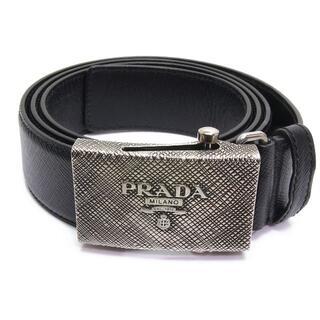 PRADA - プラダ ガチャ ベルト ブラック レザー 黒 PRADA ロゴ バックル