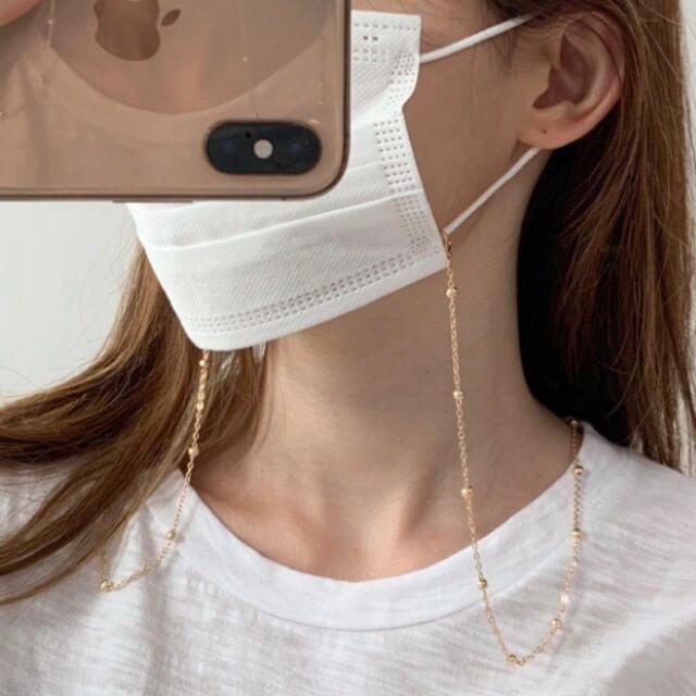 【人気・再販】マスクストラップチェーン ゴールド マスクチェーン 韓国 ハンドメイドのアクセサリー(ネックレス)の商品写真