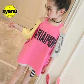 キッズ 肩出しロゴツートンカラーTシャツ 韓国子供服 半袖 夏物ピンク (Tシャツ/カットソー)