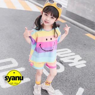 キッズ レインボーセットアップ 韓国子供服 Tシャツ ショートパンツ 夏物(Tシャツ/カットソー)
