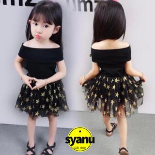 キッズ 肩出し星柄チュールワンピース韓国子供服チュチュドレス スカート夏物1(ワンピース)