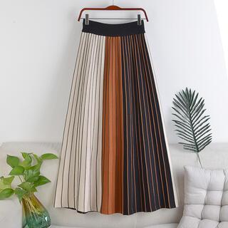 【送料無料】Aライン ハイウエスト 3カラー 配色 スカート オレンジ