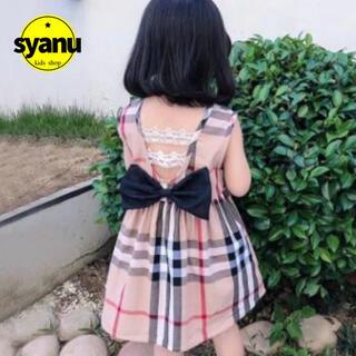 キッズ チェックワンピース バックリボン刺繍レース  韓国子供服 (ワンピース)