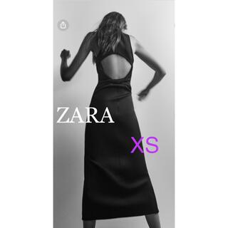 ZARA - ZARA ザラ フェイクネオプレンワンピース XS 黒 背中開きワンピース