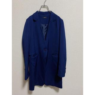 エモダ(EMODA)のEMODA ネイビー 春 テーラード ダブル ジャケット 衿 デザイン ロング(テーラードジャケット)