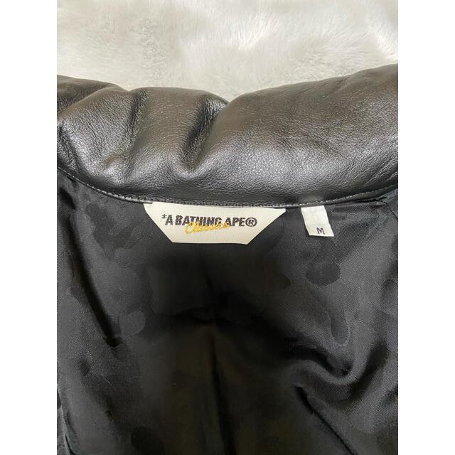 A BATHING APE(アベイシングエイプ)のA BATHING APE レザーダウンジャケット メンズのジャケット/アウター(ダウンジャケット)の商品写真