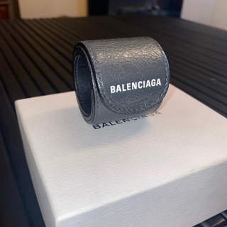 バレンシアガ(Balenciaga)のBALENCIAGA バレンシアガ サイクル ブレスレット レザー ロゴ グレー(ブレスレット)