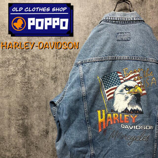 ハーレーダビッドソン(Harley Davidson)の【まつこ様専用】ハーレーダビッドソン☆星条旗柄イーグルプリントデニムジャケット(Gジャン/デニムジャケット)