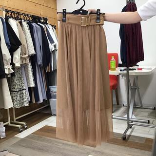 レディアゼル(REDYAZEL)のレディアゼル ベルト付きチュールロングスカート キャメル(ロングスカート)