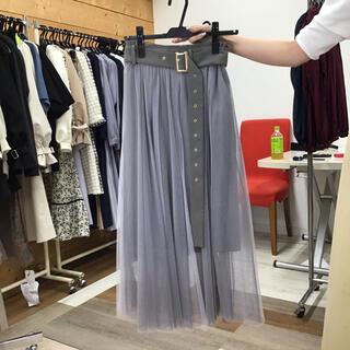 レディアゼル(REDYAZEL)の418レディアゼル ベルト付きチュールロングスカート カーキ(ロングスカート)