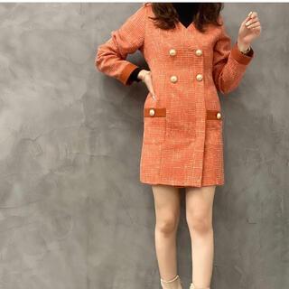 eimy istoire - 新品 eimy EM パール カラー ツイード ワンピース オレンジ