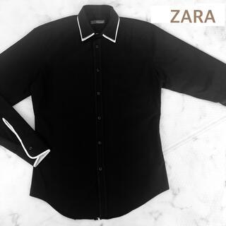 ZARA - シャツ Yシャツ ZARA メンズ M 黒 白 ツートーン 重ね襟