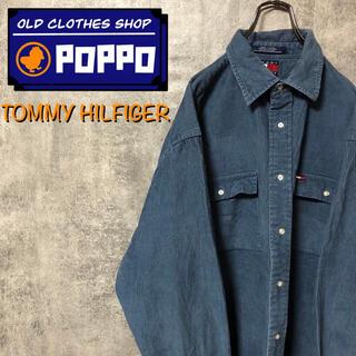 TOMMY HILFIGER - トミーヒルフィガー☆フラッグ刺繍ダブルポケット格子状コーデュロイシャツ