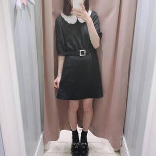 evelyn - 定価7900円+税 パールベルト付きフリル襟ワンピース 黒