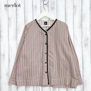 merlot - 【merlot】ストライプ前あきブラウス メルロー