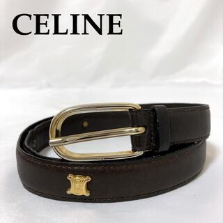 セリーヌ(celine)の美品 CELINE ベルト 金バックル マカダム ブラゾン セリーヌ 茶(ベルト)