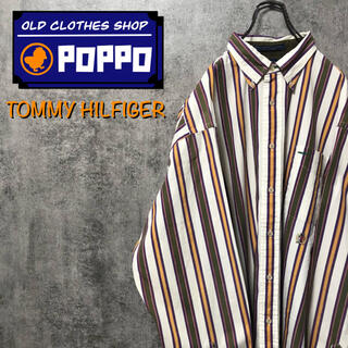 TOMMY HILFIGER - トミーヒルフィガー☆オールド刺繍ロゴレトロストライプシャツ 90s