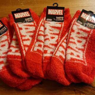 マーベル(MARVEL)のマーベルロゴ柄未使用もっこもこソックス4足セット②靴下 赤  冷え性(ソックス)