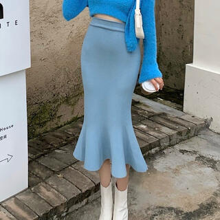 eimy istoire - 裾フリル膝丈スカート(ブルー)