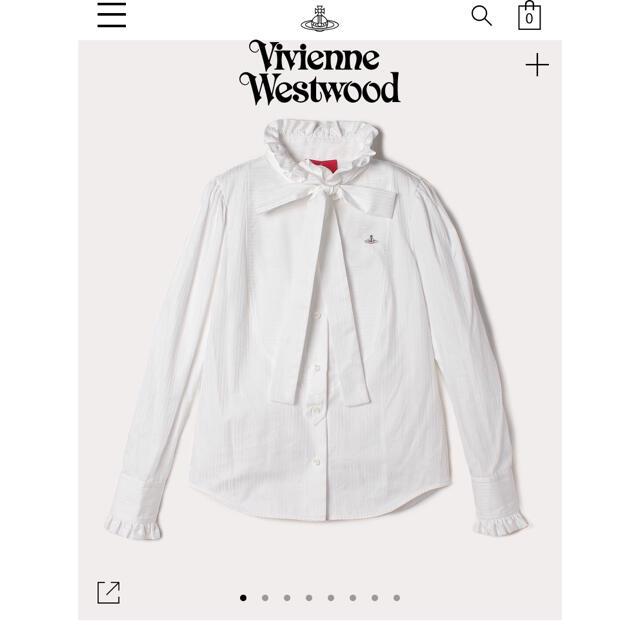 Vivienne Westwood(ヴィヴィアンウエストウッド)のドビー ボウタイ付 フリルシャツ ホワイト Vivienne Westwood レディースのトップス(シャツ/ブラウス(長袖/七分))の商品写真