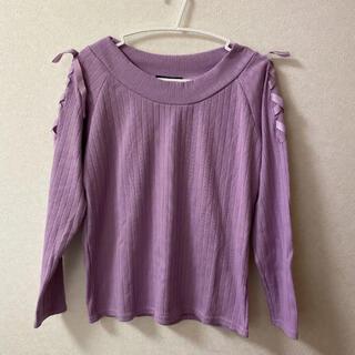 INGNI - トップス カットソー パープル ラベンダー 紫 薄紫 INGNI 肩リボン