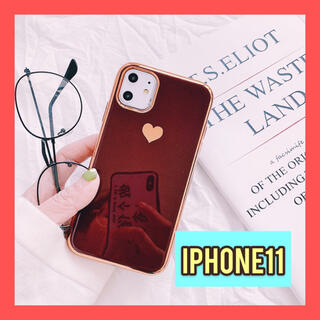 【特価】iPhone11 アイフォンケース ハート柄 シンプルケース レッド(iPhoneケース)