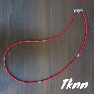赤 ビーズネックレス 50cm メンズ