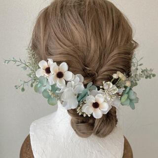 :アンティーク風ヘッドドレス:成人式/ウエディング/髪飾り/花/リボン/紐/金