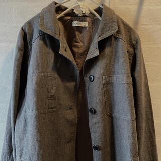 サマンサモスモス(SM2)のSM2   麻×綿 襟付き 薄手ジャケット ブラウン系 ストライプ(テーラードジャケット)