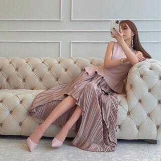 eimy istoire - ノースリーブニットイレヘムコンビプリーツスカート PINK