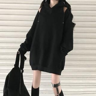 304*韓国ファッション!【新品未使用】BIGシルエット*肩チャックパーカー