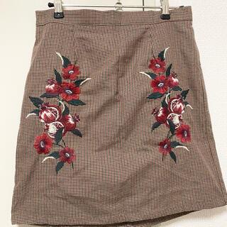 ニッセン(ニッセン)の花柄 刺繍 スカート ニッセン(ひざ丈スカート)