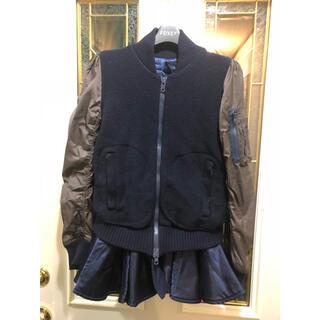 sacai - sacai フリル ニット切替ブルゾン  ジャンパー ジャケットサカイ MA-1