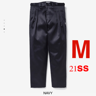 W)taps - TUCK 02 / TROUSERS / COTTON. TWILL NAVY