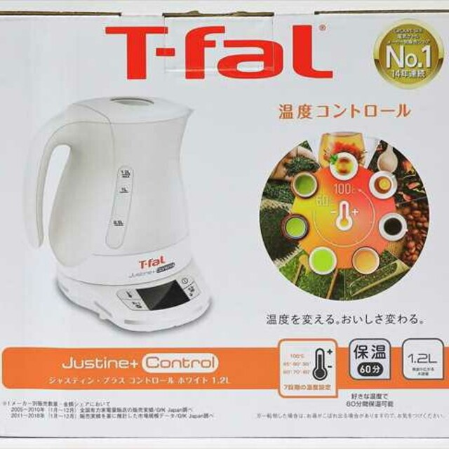 T-fal(ティファール)のティファール T-fal 電気ケトル ジャスティンプラスコントロール ホワイト  スマホ/家電/カメラの生活家電(電気ケトル)の商品写真