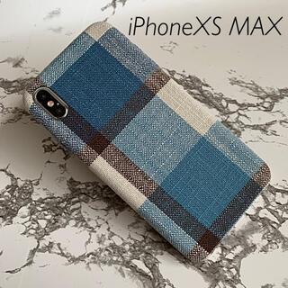 iPhoneXS MAX専用 ケースカバー チェックブルー