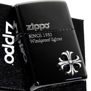 ジッポー(ZIPPO)の(送料込み)ZIPPO◇クロスメタル◇彫り/銀◇ブラック◇新品◇ジッポ(タバコグッズ)