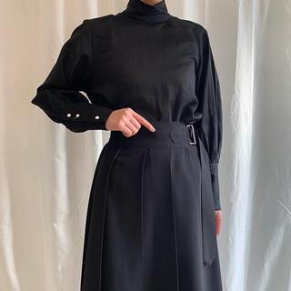 【新品】foufou フーフー ハイネックドレスシャツ ブラック 黒