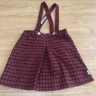 familiar - familiar 赤チェック 吊り スカート 90㎝