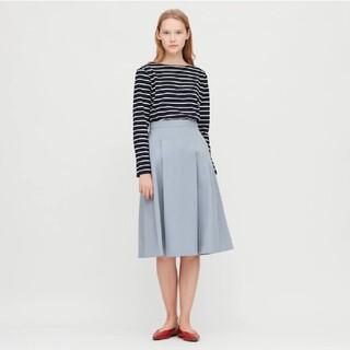 UNIQLO - 美品 ユニクロ ドライストレッチタックフレア スカート ブルー 水色