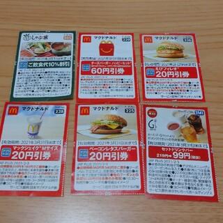 マクドナルド(マクドナルド)のしゃぶ葉、マクドナルド、ガスト割引券(フード/ドリンク券)