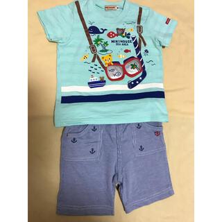 mikihouse - ミキハウス 豪華半袖Tシャツ+マリンハーフパンツのセット 新品未使用 90