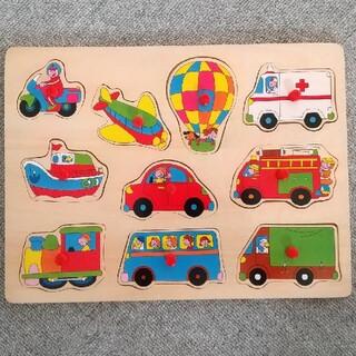 ニシマツヤ(西松屋)の木製パズル 10ピース 乗り物(知育玩具)