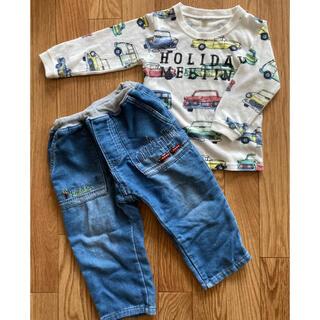 kladskap - 男の子 Tシャツ 車 クルマ クレードスコープ 電車 刺繍 デニムパンツ