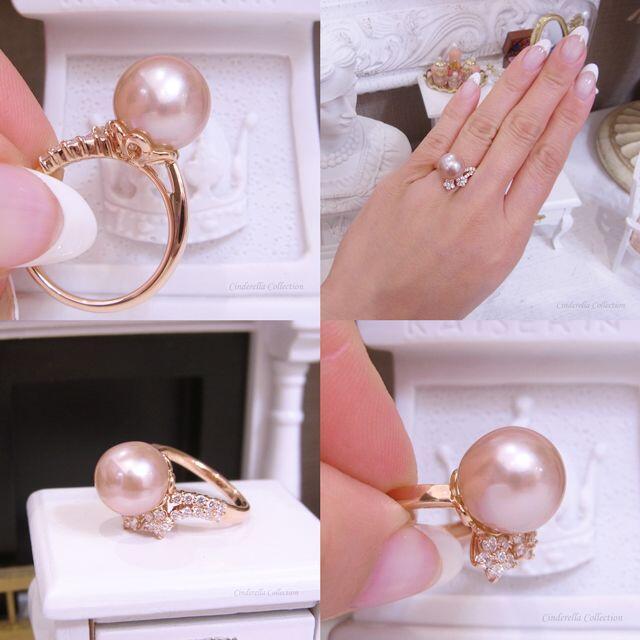 「人魚姫の宝物シリーズ」★K18PG人魚姫のリング(桜ピンクベージュパール) レディースのアクセサリー(リング(指輪))の商品写真