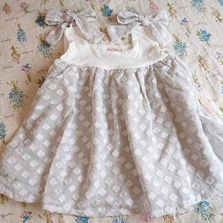 プティマイン(petit main)のプティマイン petit main お花シフォン切り替えチュニック(Tシャツ/カットソー)