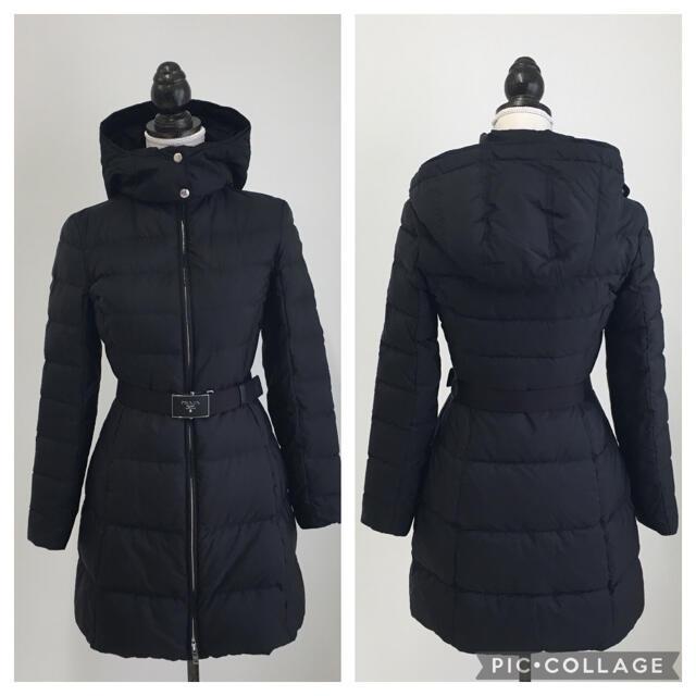 PRADA(プラダ)の美品 正規品 プラダ PRADA ベルト ロゴ ダウン ブラック ロング レディースのジャケット/アウター(ダウンジャケット)の商品写真