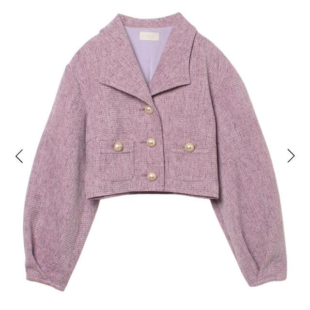 eimy istoire(エイミーイストワール)のシンプルツイードヴィンテージライクジャケット レディースのジャケット/アウター(ノーカラージャケット)の商品写真