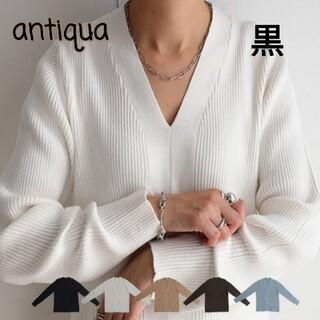 antiqua - 美品⭐アンティカ antiqua Vネックリブニット Lサイズ